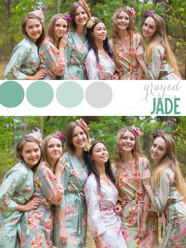 Grayed Jade and Shades of Green Wedding Colors Bridesmaids Robes|Grayed Jade and Shades of Green Wedding Colors Bridesmaids Robes