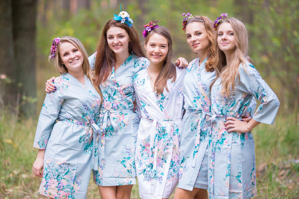 Gray Blooming Flowers Pattern Bridesmaids Robes