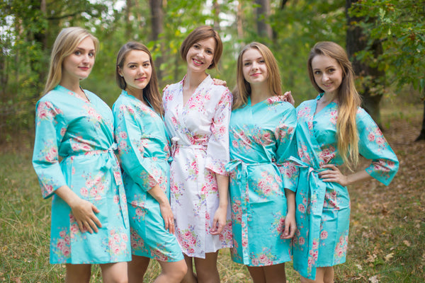 Flowers Pattern Bridesmaids Robes|Aqua Faded Flowers Pattern Bridesmaids Robes|Aqua Faded Flowers Pattern Bridesmaids Robes|Faded Flowers