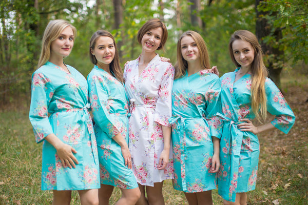 Aqua Faded Flowers Pattern Bridesmaids Robes