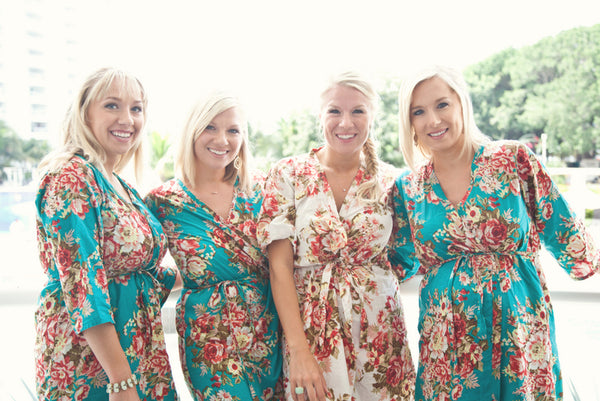 Teal Bridesmaids Robes|Teal Bridesmaids Robes|REGULAR FABRICS2|A SERIES FABRICS|BRIGHT ROBES|PASTEL ROBES|SHALIMAR ROBES