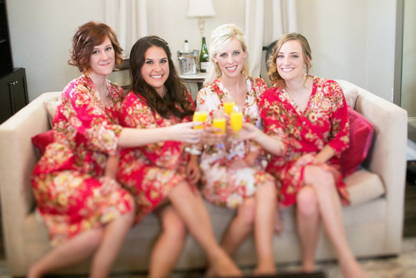 Red Bridesmaids Robes|REGULAR FABRICS2|A SERIES FABRICS|BRIGHT ROBES|PASTEL ROBES|SHALIMAR ROBES|A SERIES ROBES|A SERIES|A SERIES2