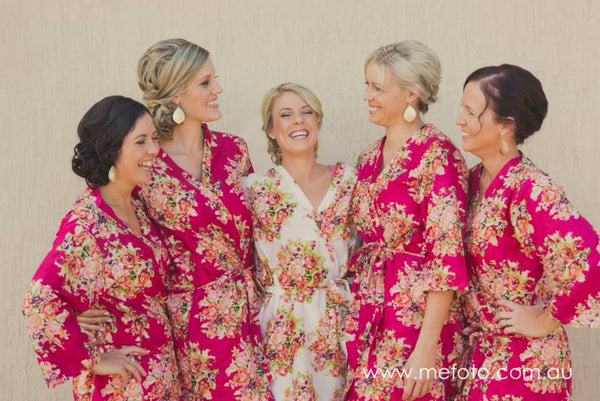 Magenta Bridesmaids Robes|C series Collage|BRIGHT ROBES|PASTEL ROBES|SHALIMAR ROBES