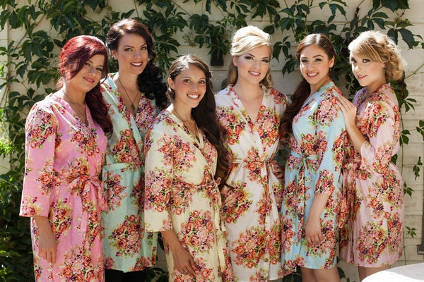 Mix Matched Bridesmaids Robes|C series Collage|BRIGHT ROBES|PASTEL ROBES|SHALIMAR ROBES