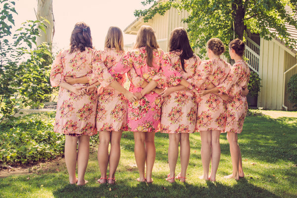 Pink Bridesmaids Robes|C series Collage|BRIGHT ROBES|PASTEL ROBES|SHALIMAR ROBES