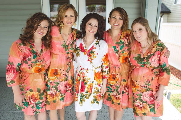 Coral Bridesmaids Robes|D SERIES|D SERIES 2|BIG FLOWER ROBES|BIG FLOWER ROBES2|BIG FLOWER2