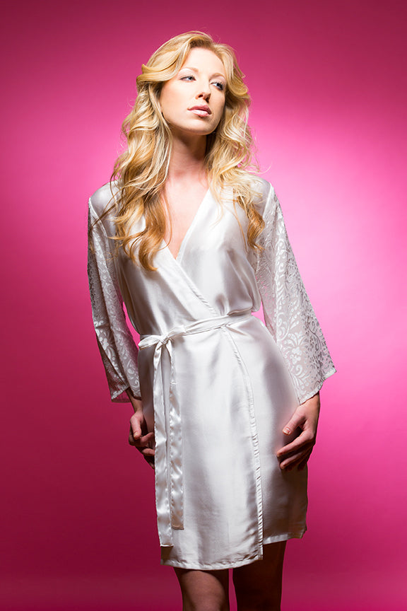 White Satin Robe with Brasso Sleeves