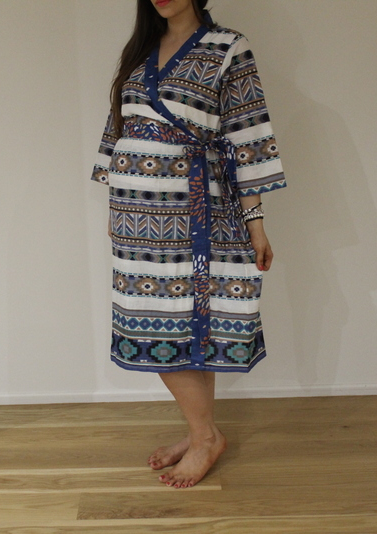 New *Wide In-Built Belt Robe* Aztec Knee Length Maternity Hospital Gown