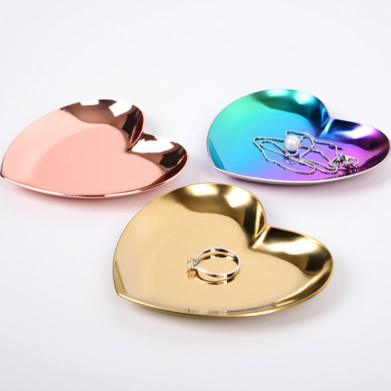 Heart-shaped Jewelry Plate Nordic Ins Gold Jewelry Ring Tray Metal Jewelry Storage Display Tray Decorative Love Plate