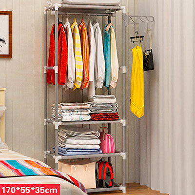 Simple Metal Iron Coat Rack Floor Standing Storage Shelf