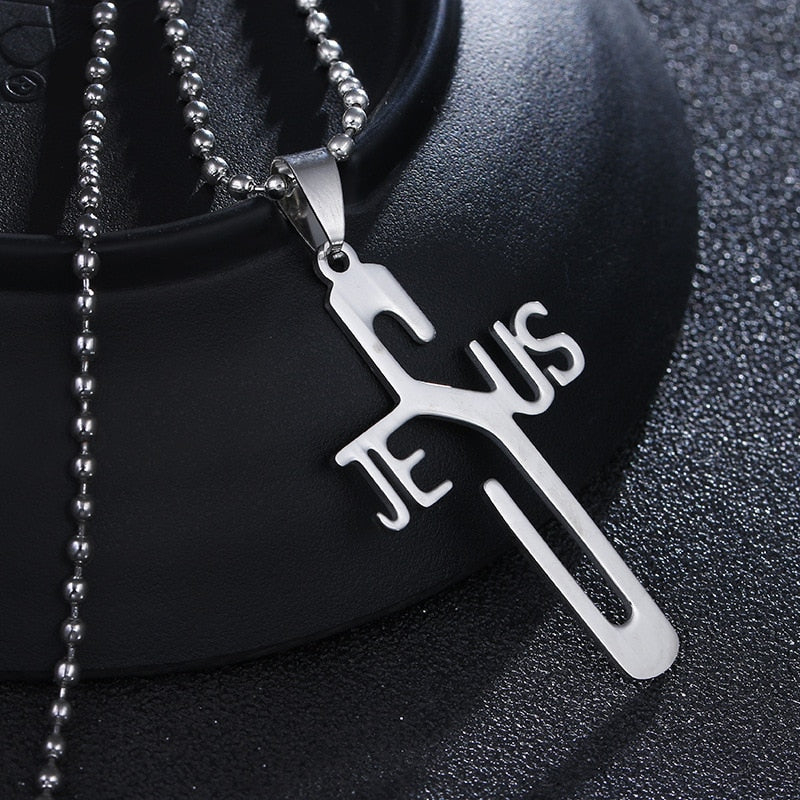 Cross JESUS  Stainless Steel Necklace