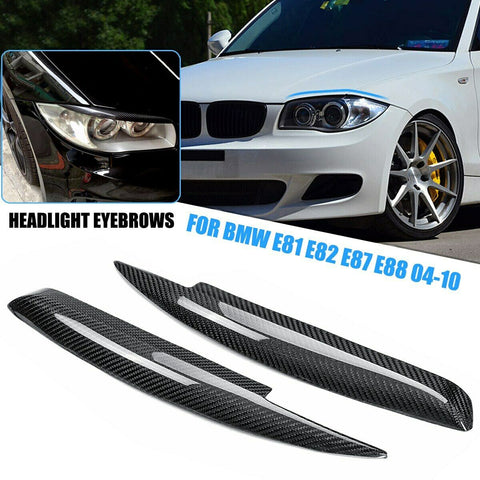 BMW E81 E82 E87 E88 Carbon Fibre Car Headlight Eyebrows Eyelids 2004 - 2010