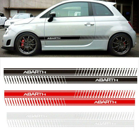 Fiat 500 Abarth Side Skirt Sticker Racing Body Stripe Silver 150 x 8cm
