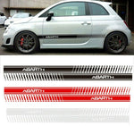 Fiat 500 Abarth Side Skirt Sticker Racing Body Stripe White 180 x 10cm