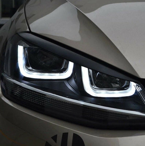 VW Golf MK7 / MK7.5 Eyelid Eyebrow Gloss Black Headlight Trim 2013 - 2018