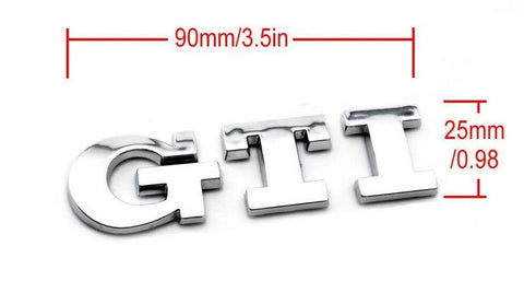 VW GTI Decal Sticker for Golf Polo UP GTI Rear Boot Car Badge Silver