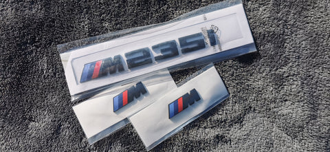 Gloss Black BMW M235i + Wing Badge Bundle