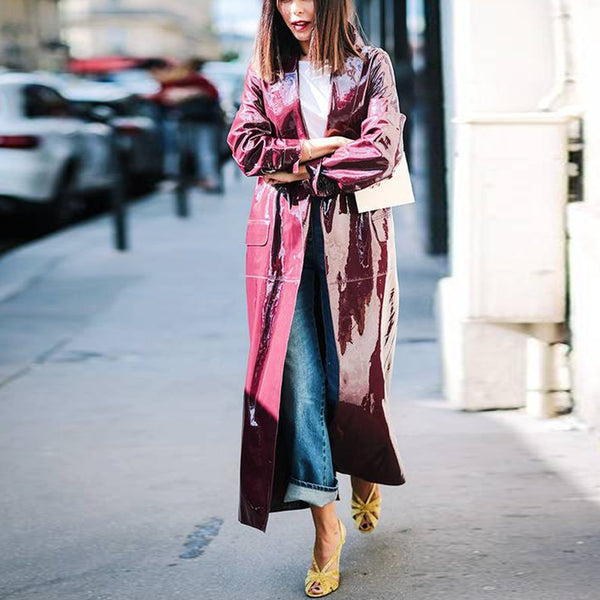 V-neck long-sleeved purple leather trench coat