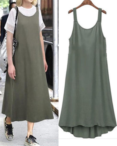 U-Neck Cotton And Linen Vest Dress