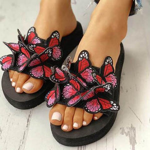 Stylish Casual Color Butterfly   Wedge Slipper