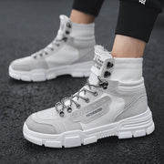 Fashion retro solid lace up high top men's Boots DWQ35