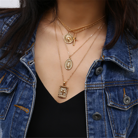 Vintage multi-layer cross necklace