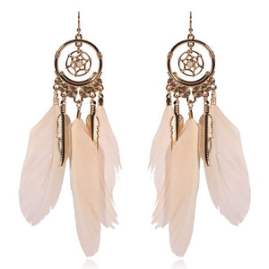 Bohemian feather round leaf earrings