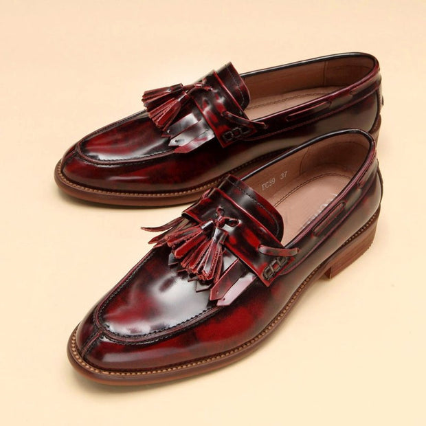 Retro fringe wild loafers