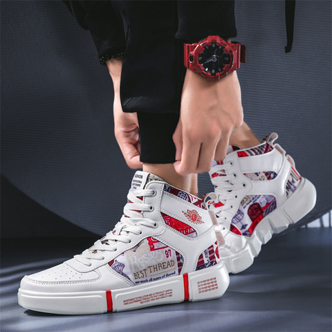 Men's casual printed stitching sneakers