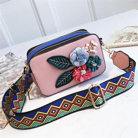 Sweet flower wide shoulder strap messenger bag