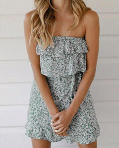 One-Shouldered Ruffled Lace-Up Dress