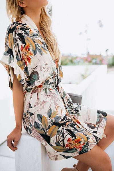 Sexy Fashion Short Sleeves Floral Print Mini Dress