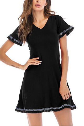 Fashion V Collar Defined Waist National Style Skater Dress