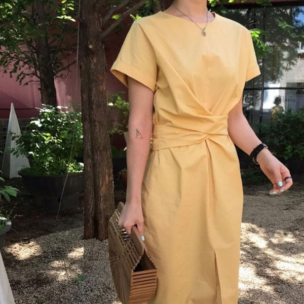French Bandage With A Waist  Short Sleeved Dress