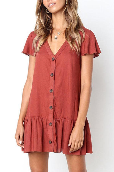 V Neck  Single Breasted  Plain  Short Sleeve Casual Dresses