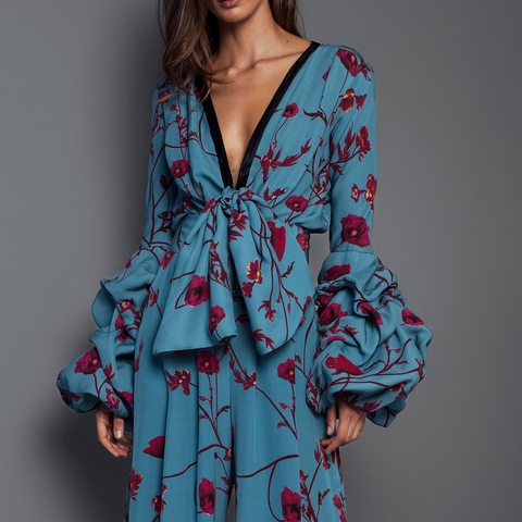 Sexy Deep V Collar Floral Printed Elastic Waist Maxi Dress