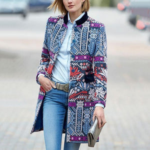 2019 CEA Women's New Arrival Fashion Elegant Slim Floral Long Sleeve Suit Coat Cardigan