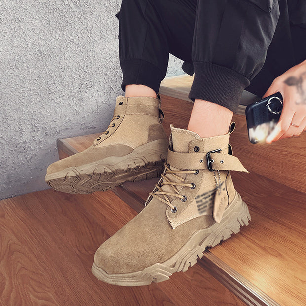 Fashion trend solid color lace up buckle men's boots DWQ35