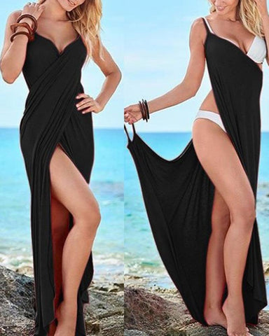 Surplice  High Slit  Two Way  Plain Maxi Dresses