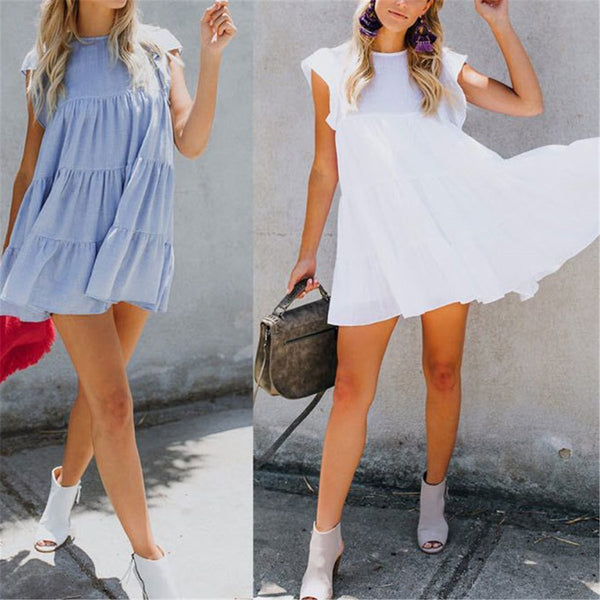 Sweet Round Collar Plain Ruffled Loose Vacation Mini Dress