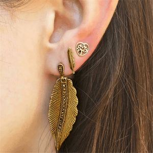 Vintage   Bohemian Leaf Earrings Set Of Three