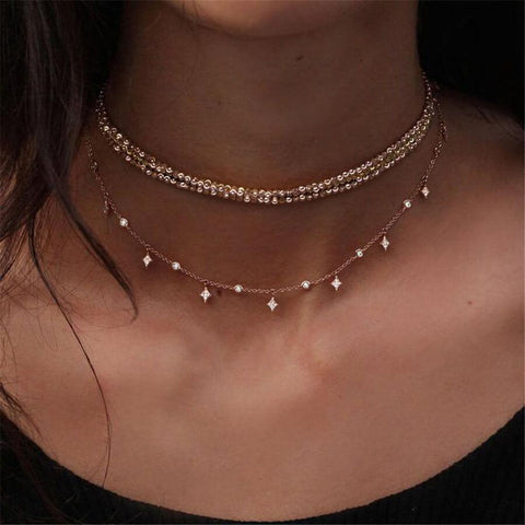 Fashion   Diamond-Encrusted Star Multi-Layer Necklace