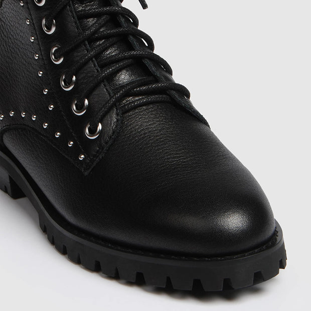 Womens fashionable lace-up ox-grain leather Martin boots
