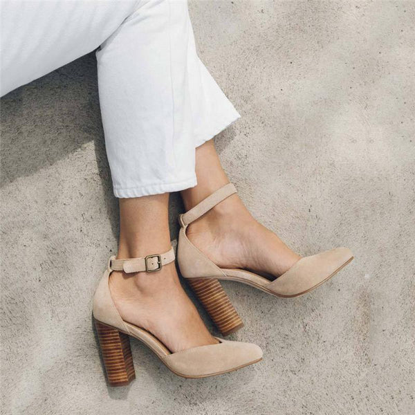 Summer High Heel Thick With Hollow Buckle Sandals