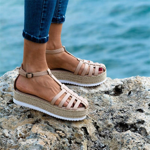 Flat Bottom Buckle With Open Toe Women's Sandals