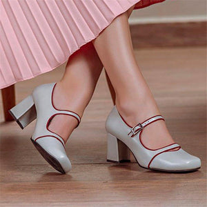 Women's Comfortable Square Head   Buckle High Heels