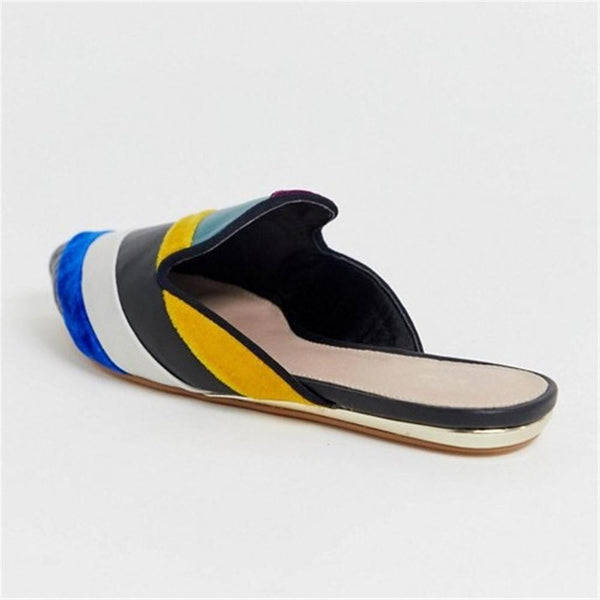 Women's Color Stitching Simple   Pointed Flat Shoes
