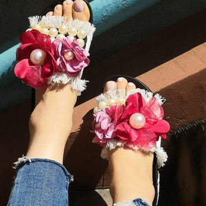 Women's Fashion Flower Flat Slippers