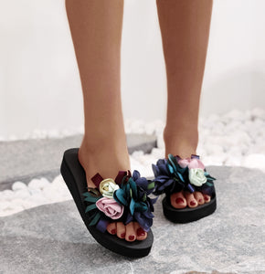 Women's Fashion Casual Floral Round Beach Flat