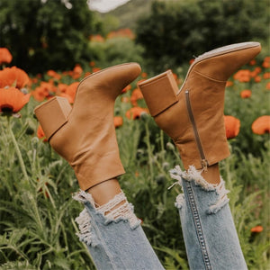 Women's Solid Color Pointed Side Zipper Thick With Boots